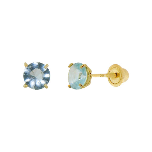 14k Yellow Gold, Tiny Mini 2mm Created Birthstone CZ Crystal Stud Earring Screw Back Mar (E116-003)