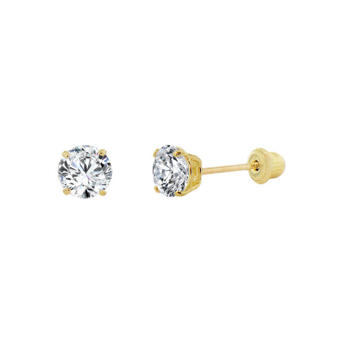 14k Yellow Gold, Tiny Mini 2mm Created Birthstone CZ Crystal Stud Earring Screw Back Apr (E116-004)