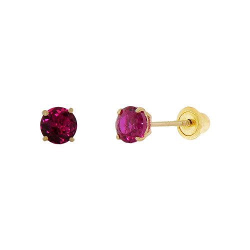 14k Yellow Gold, Tiny Mini 2mm Created Birthstone CZ Crystal Stud Earring Screw Back Jul (E116-007)