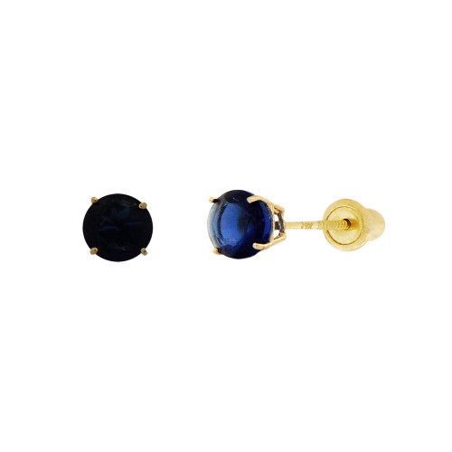 14k Yellow Gold, Tiny Mini 2mm Created Birthstone CZ Crystal Stud Earring Screw Back Sep (E116-009)