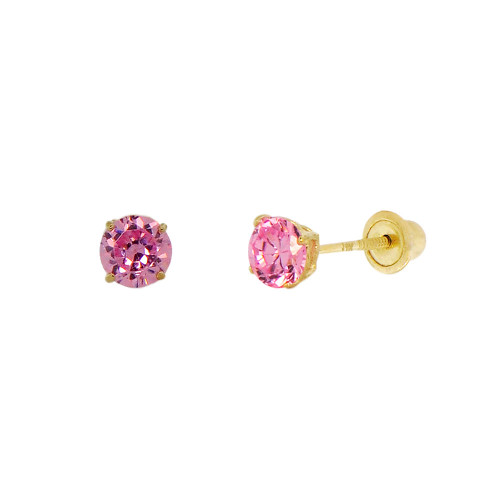 14k Yellow Gold, Tiny Mini 2mm Created Birthstone CZ Crystal Stud Earring Screw Back Oct (E116-010)