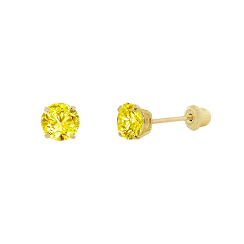 14k Yellow Gold, Tiny Mini 2mm Created Birthstone CZ Crystal Stud Earring Screw Back Nov (E116-011)