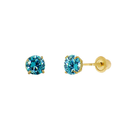 14k Yellow Gold, Tiny Mini 2mm Created Birthstone CZ Crystal Stud Earring Screw Back Dec (E116-012)