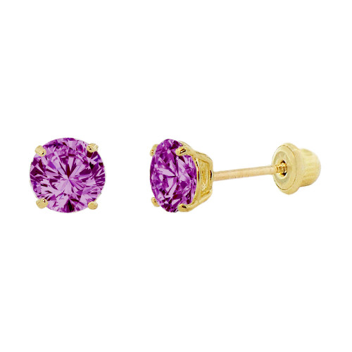 14k Yellow Gold, Small 3mm Created Birthstone CZ Crystal Stud Earring Screw Back Feb (E117-002)