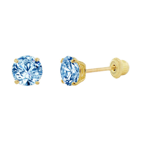 14k Yellow Gold, Small 3mm Created Birthstone CZ Crystal Stud Earring Screw Back Mar (E117-003)