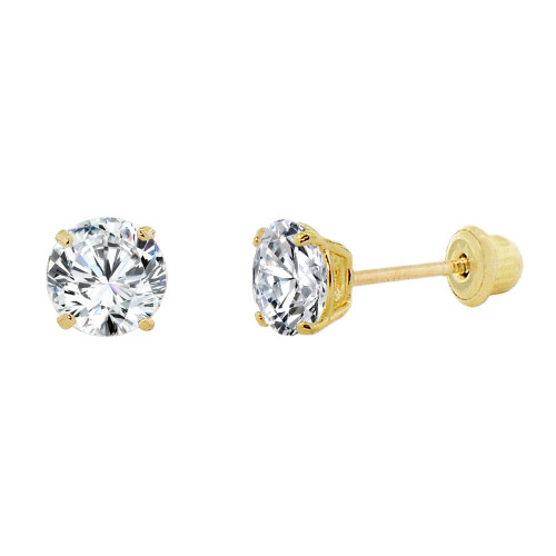 14k Yellow Gold, Small 3mm Created Birthstone CZ Crystal Stud Earring Screw Back Apr (E117-004)
