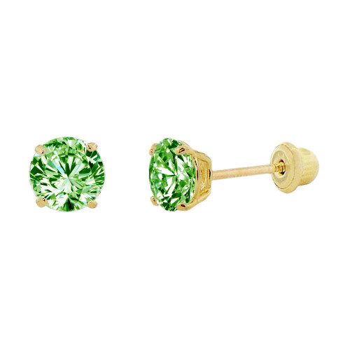 14k Yellow Gold, Small 3mm Created Birthstone CZ Crystal Stud Earring Screw Back Aug (E117-008)