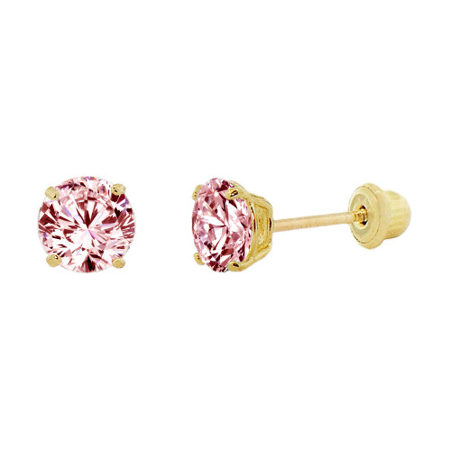 14k Yellow Gold, Small 3mm Created Birthstone CZ Crystal Stud Earring Screw Back Oct (E117-010)