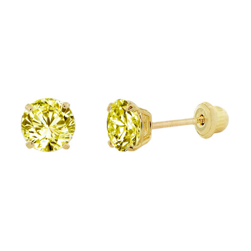 14k Yellow Gold, Small 3mm Created Birthstone CZ Crystal Stud Earring Screw Back Nov (E117-011)