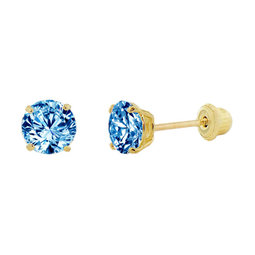 14k Yellow Gold, Small 3mm Created Birthstone CZ Crystal Stud Earring Screw Back Dec (E117-012)