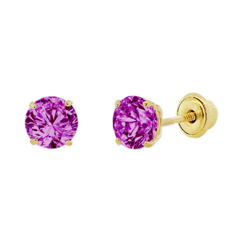 14k Yellow Gold, 4mm Created Birthstone CZ Crystal Stud Earring Screw Back Feb (E118-002)