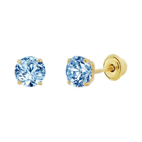 14k Yellow Gold, 4mm Created Birthstone CZ Crystal Stud Earring Screw Back Mar (E118-003)