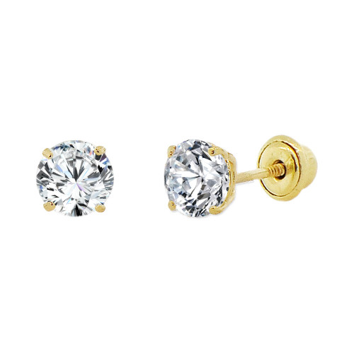 14k Yellow Gold, 4mm Created Birthstone CZ Crystal Stud Earring Screw Back Apr (E118-004)