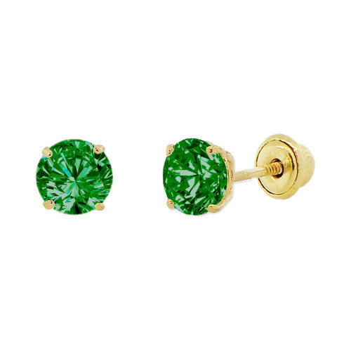 14k Yellow Gold, 4mm Created Birthstone CZ Crystal Stud Earring Screw Back May (E118-005)