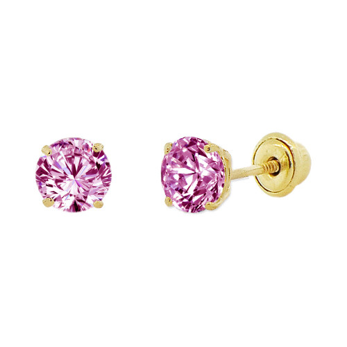 14k Yellow Gold, 4mm Created Birthstone CZ Crystal Stud Earring Screw Back Jun (E118-006)