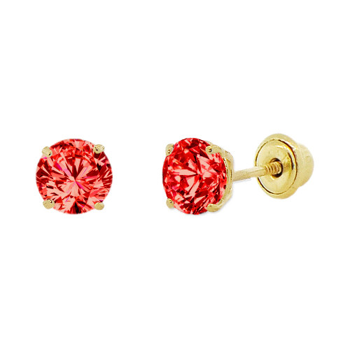14k Yellow Gold, 4mm Created Birthstone CZ Crystal Stud Earring Screw Back Jul (E118-007)