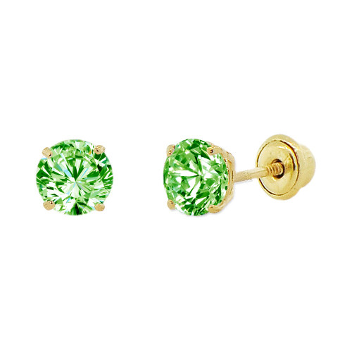 14k Yellow Gold, 4mm Created Birthstone CZ Crystal Stud Earring Screw Back Aug (E118-008)