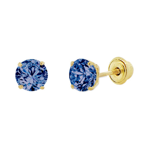 14k Yellow Gold, 4mm Created Birthstone CZ Crystal Stud Earring Screw Back Sep (E118-009)