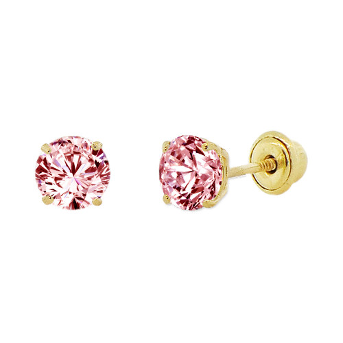 14k Yellow Gold, 4mm Created Birthstone CZ Crystal Stud Earring Screw Back Oct (E118-010)