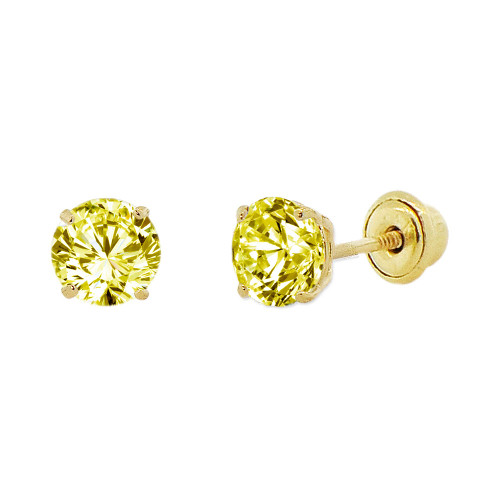 14k Yellow Gold, 4mm Created Birthstone CZ Crystal Stud Earring Screw Back Nov (E118-011)