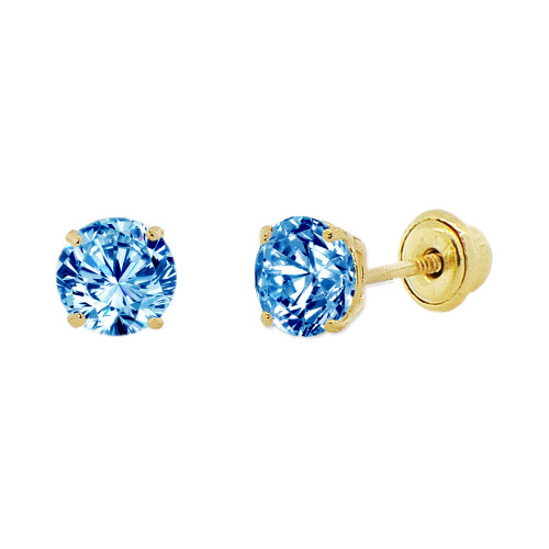 14k Yellow Gold, 4mm Created Birthstone CZ Crystal Stud Earring Screw Back Dec (E118-012)
