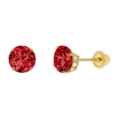 14k Yellow Gold, 6mm Created Birthstone CZ Crystal Stud Earring Screw Back Jan (E120-001)