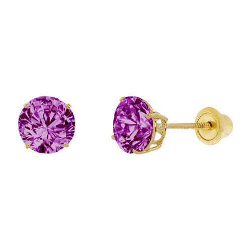 14k Yellow Gold, 6mm Created Birthstone CZ Crystal Stud Earring Screw Back Feb (E120-002)