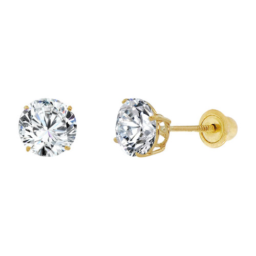 14k Yellow Gold, 6mm Created Birthstone CZ Crystal Stud Earring Screw Back Apr (E120-004)