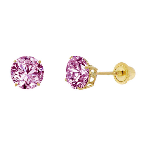 14k Yellow Gold, 6mm Created Birthstone CZ Crystal Stud Earring Screw Back Jun (E120-006)