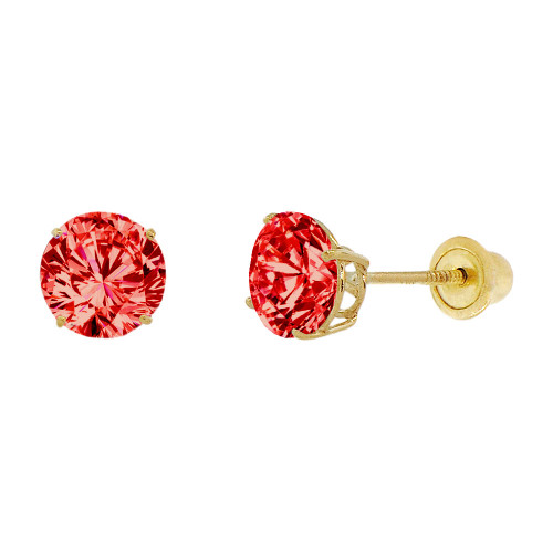 14k Yellow Gold, 6mm Created Birthstone CZ Crystal Stud Earring Screw Back Jul (E120-007)