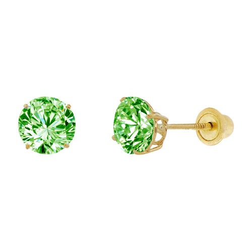 14k Yellow Gold, 6mm Created Birthstone CZ Crystal Stud Earring Screw Back Aug (E120-008)