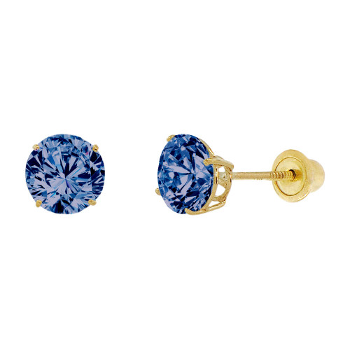 14k Yellow Gold, 6mm Created Birthstone CZ Crystal Stud Earring Screw Back Sep (E120-009)