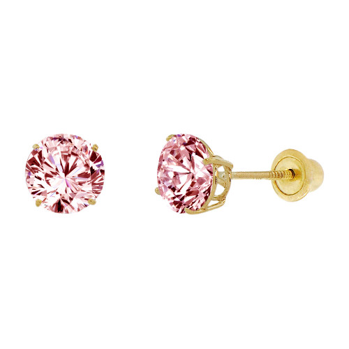 14k Yellow Gold, 6mm Created Birthstone CZ Crystal Stud Earring Screw Back Oct (E120-010)