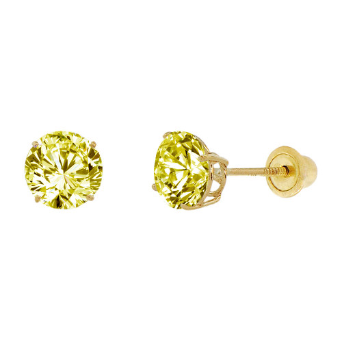 14k Yellow Gold, 6mm Created Birthstone CZ Crystal Stud Earring Screw Back Nov (E120-011)