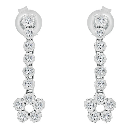 14k Gold White Rhodium, Modern Flower Dangling Earring Created CZ Crystals (E025-060)