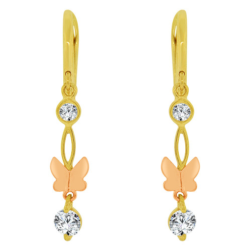 14k Yellow & Rose Gold, Dangling Butterfly Earring Created CZ Crystals (E032-002)