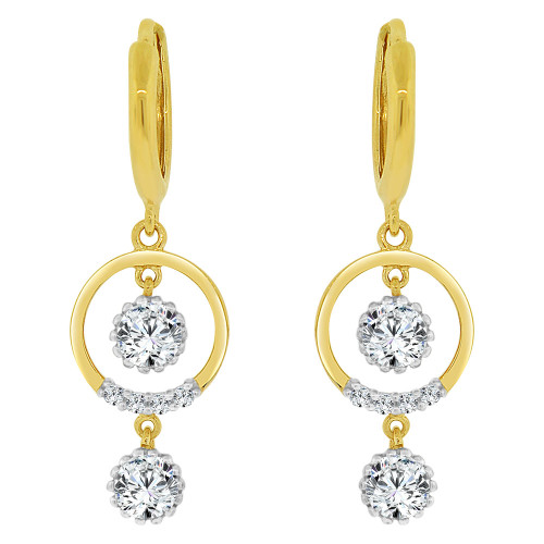 14k Yellow Gold, Dangling Circular Earring Created CZ Crystals (E032-008)