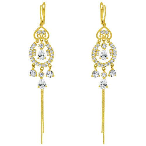 14k Yellow Gold, Dangling Fancy Chandelier Earring Created CZ Crystals (E032-009)