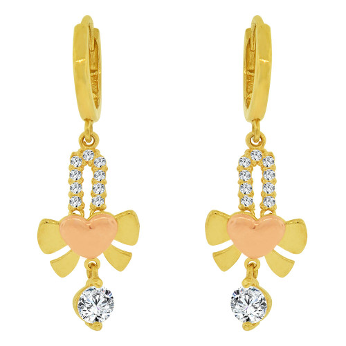 14k Yellow & Rose Gold, Heart Dangling Earring Created CZ Crystals (E032-014)