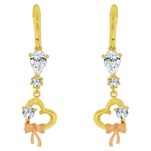 14k Yellow & Rose Gold, Heart Dangling Earring Created CZ Crystals (E032-016)