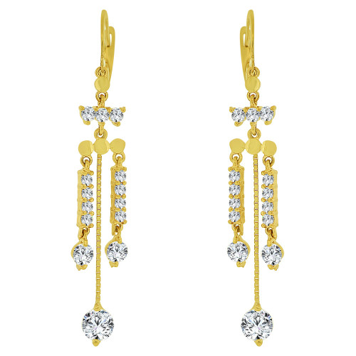 14k Yellow Gold, Dangling Strands Earring Created CZ Crystals (E032-018)