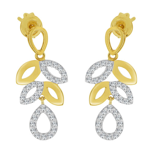 14k Yellow Gold, Modern Leaf Drop Earring Created CZ Crystals (E032-019)
