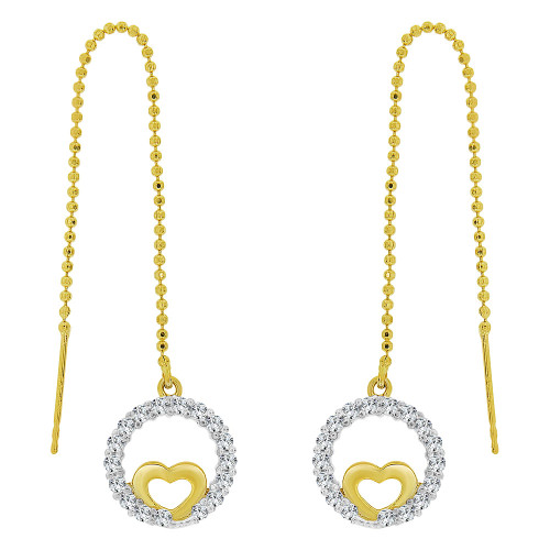 14k Yellow Gold, Heart Bezel Threader Drop Earring Created CZ Crystals (E032-022)