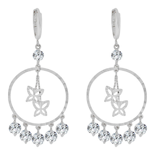 14k Gold White Rhodium, Circular Dangling Earring Butterflies Created CZ Crystals (E032-053)