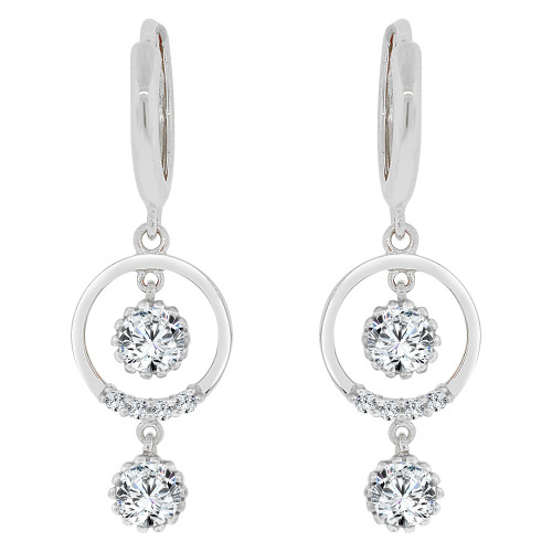 14k Gold White Rhodium, Dangling Circular Earring Created CZ Crystals (E032-058)