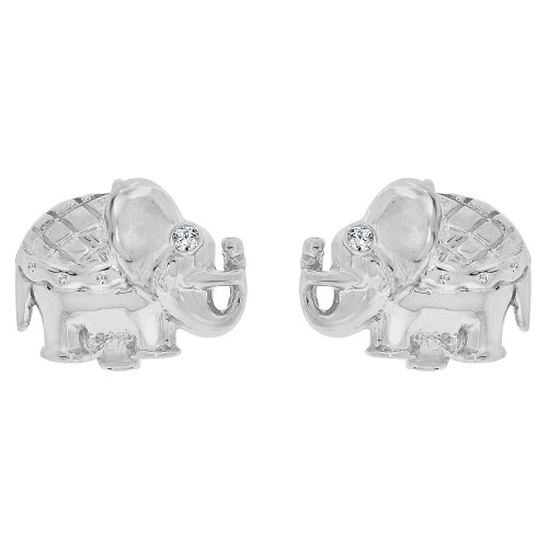 14k Gold White Rhodium, Good Luck Elephant Hoop Stud Earring Created CZ Crystals (E032-060)