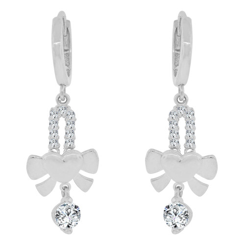 14k Gold White Rhodium, Heart Dangling Earring Created CZ Crystals (E032-064)