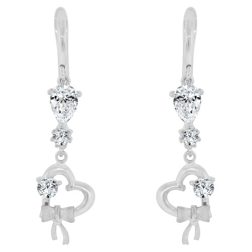 14k Gold White Rhodium, Heart Dangling Earring Created CZ Crystals (E032-066)