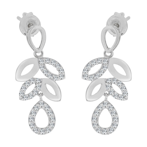 14k Gold White Rhodium, Modern Leaf Drop Earring Created CZ Crystals (E032-069)