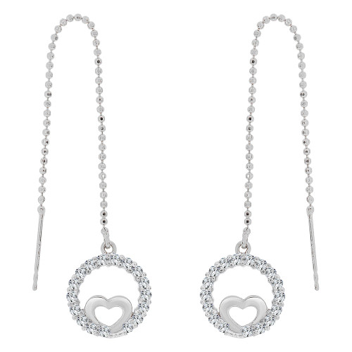 14k Gold White Rhodium, Heart & Bezel Threader Drop Earring Created CZ Crystals (E032-072)